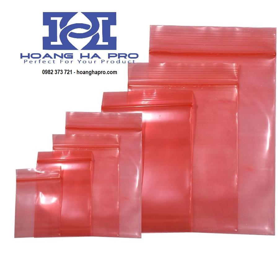 Túi zipper màu hồng